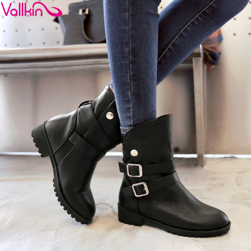 VALLKIN 2016 Winter Autumn Women Shoes Square  Heel British Style Buckle Ankle Boots Fashion Women Motorcycle Boots Size 34-43<br>