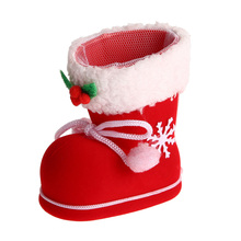 3 Sizes Christmas Boots Flocking Boots Socks Creative Gift Box of Candy Decorative Red Boots Christmas Decorations for Home