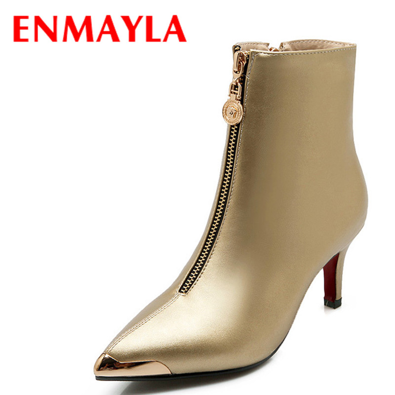 ENMAYLA Fashion Pointed Toe Zipper Ankle Boots Sexy Wedding Martin Boots High Autumn Ankle Boots Shoes Big Size 43 Boots Women<br>