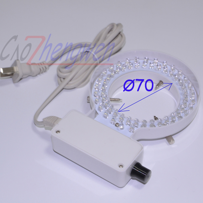 FYSCOPE 70mm Inner Diameter White Ring Light 64 pcs LED White Ring Lamp with Adapter for Stereo Microscope<br>
