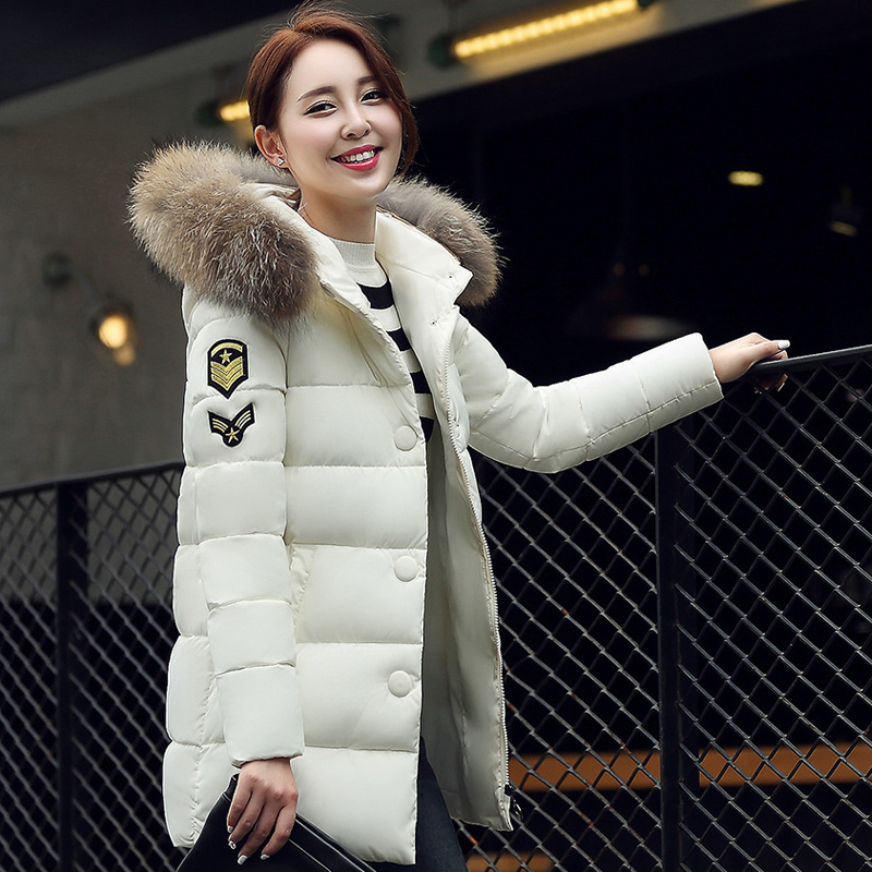 2017 Real Winter New Korean Fashion Leisure Fur Collar Badges Cloth Long Down Jacket Free ShippingОдежда и ак�е��уары<br><br><br>Aliexpress