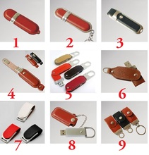 (Can customize LOGO) 9 style Leather Pendrive USB Flash Drive 1gb 2gb 4gb 8gb 16gb 32gb 64gb Pendrive usb stick(China)