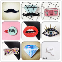 1 PCS Creative Lips Acrylic Pins Icons Badges on Backpack Stripe Decoration Eyes Brooch Diamond Badge for Clothes @Y