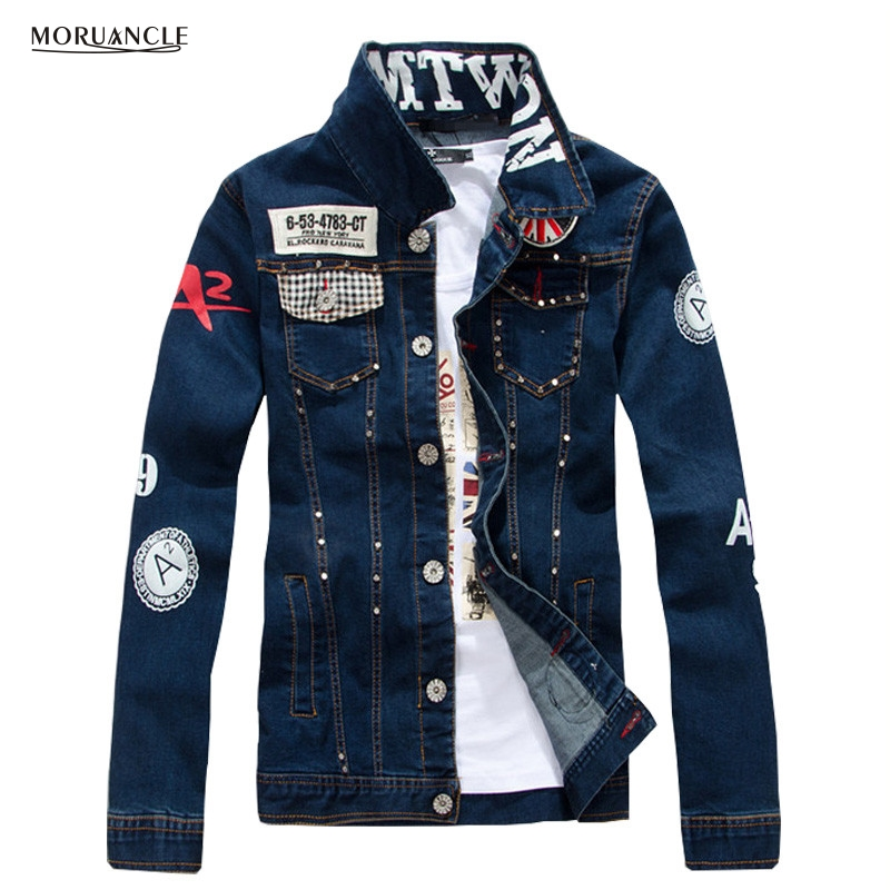 MORUANCLE New Fashion Men's Printed Hip Hop Jean Jackets With Rivets Slim Fit Painted Punk Denim Jackets Coat For Man Washed