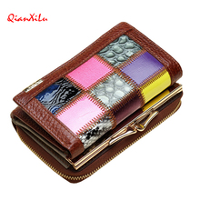 Hot 2017 New Fashion Genuine Leather Women Wallet Candy Color Splice Lady Wallets Mobile Bags Handbag Coin Purses Clutch(China)