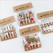 10 pcs/lot Kawaii cartoon animals Wood Clip Photo paper Clothespin Craft Clips Party decoration Clip with Hemp Rope