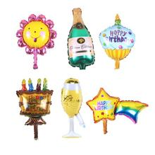 small champagne cup beer Bottle Sunflower balloons aluminium foil balloon helium ballons for birthday wedding balloons party