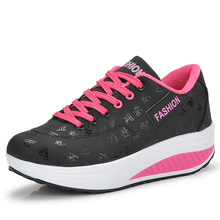 spring women fitness shoes girls Slimming swing shoes platform sneakers female wedges Walking Shoes size 35-42(China)