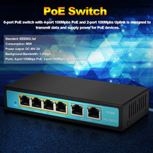 PoE Switch Power over Ethernet Adapter 4-Port PoE with 2-Port Uplink Ethernet 100Mbps IEEE802.3af 96W for IP Cameras PoE Powered(China)