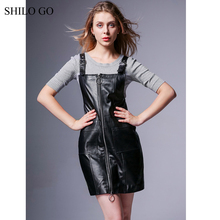 Buy SHILO GO Leather Dress Autumn Fashion sheepskin genuine leather dress metal spaghetti strap front long zipper sleeveless dress for $308.00 in AliExpress store
