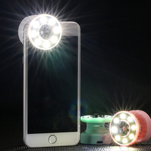 2 in 1 Selfie Light + Wide-angle Lens LED Light For iPhone 7 7 plus For iphone 6s 6s Plus for Samsung all Mobile Phone LED bulb(China)