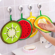 New 4Pcs/lot Fruit hand towel dish dry cloth candy color Cartoon design Pattern Absorbent Kitchen with Hanging Bathroom Use