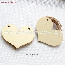 "(60pcs/lot) 60mm 2 Holes Blank Unfinished Wooden Hearts Wedding Cloths Hanger Ornaments  2.4"" -CT1322"