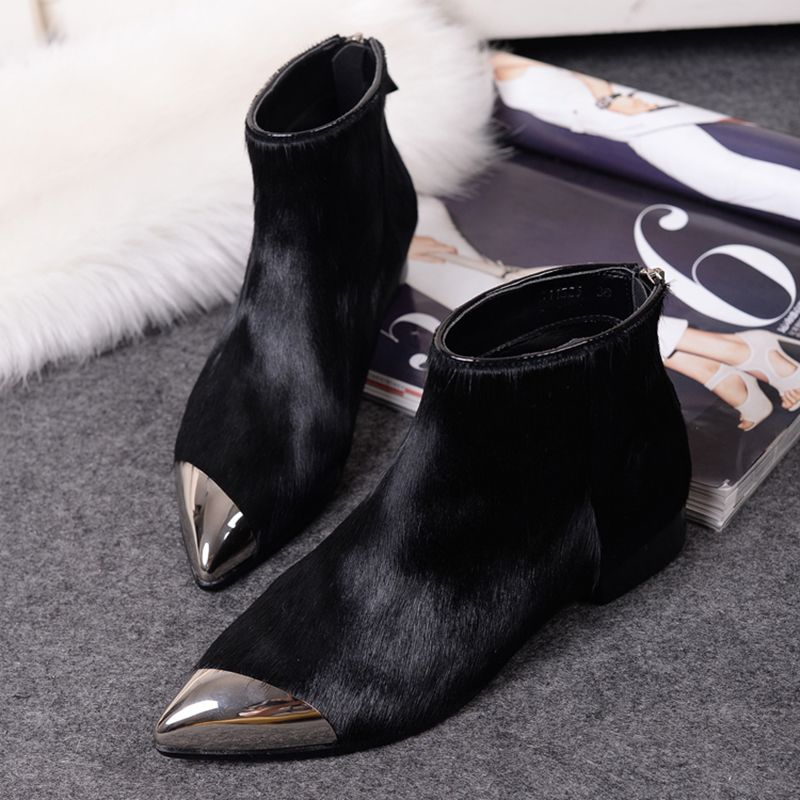 Sexy Black Fur Leather Autumn New Women Ankle Boots 2016 Metal Pointed Toe Flat Dress Shoes Woman Winter Short Motorcycle Boots<br><br>Aliexpress