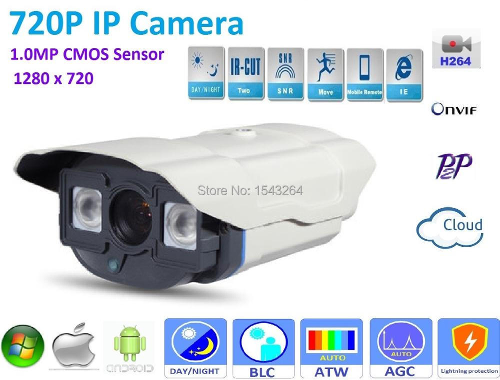 H.264 1280X720 ONVIF P2P Waterproof Outdoor IRCUT Night Vision POE 720P IP Camera support POE Switch 48V or DC 12V Power supply<br>