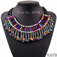 2017 New Design Fashion Party Elegant Jewel Black Chain Colorful Resin Stone Pendant Chunky Statement Necklace Choker For Women