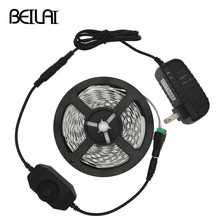 BEILAI 5630 Dimmable LED Strip 5M 300LED Not Waterproof DC 12V Fita LED Light Strips Flexible Neon Tape With 2A Power and Dimmer(China)