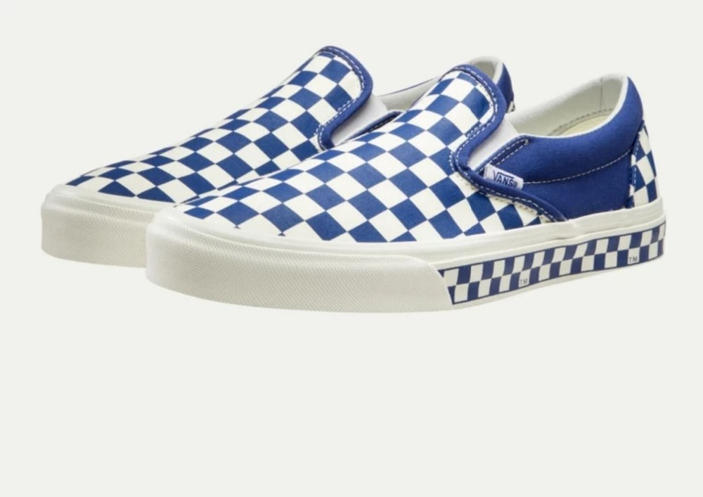vans slip on checkerboard blue and white