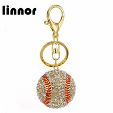 Linnor Unique Crystal Baseball Keychain Strass Keyring for Women Gift Bag Car Pendant Key Chain Ring Holder Jewelry Accessories