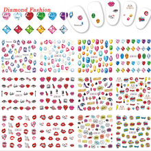 12 Designs Nail Art Colorful Mixed Diamond/Red Lips/Letter Nail Decals Nail Art Sticker Water Transfer DIY Tips TRBN577-588