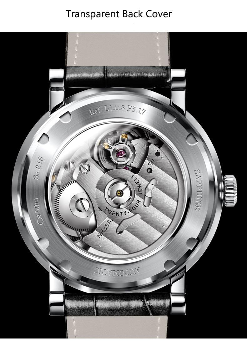 LOBINNI New Men Watches Top Luxury Brand Japan Import NH35A SII O Auto Mechanical MOVT Men's Clock Sapphire reloj hombre L1018-8 13