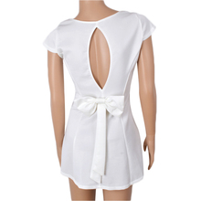 Summer White Dress Short Sleeve Back Hollow Out Bow Tunic Mini Dress Pin Up A Line Elegant Fashion Short Sleeve Dress