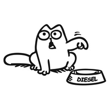 13.5*8.1CM DIESEL Simon's Cat Car Body Decoration Decal Personalized Fuel Tank Cover Stickers C1-4028