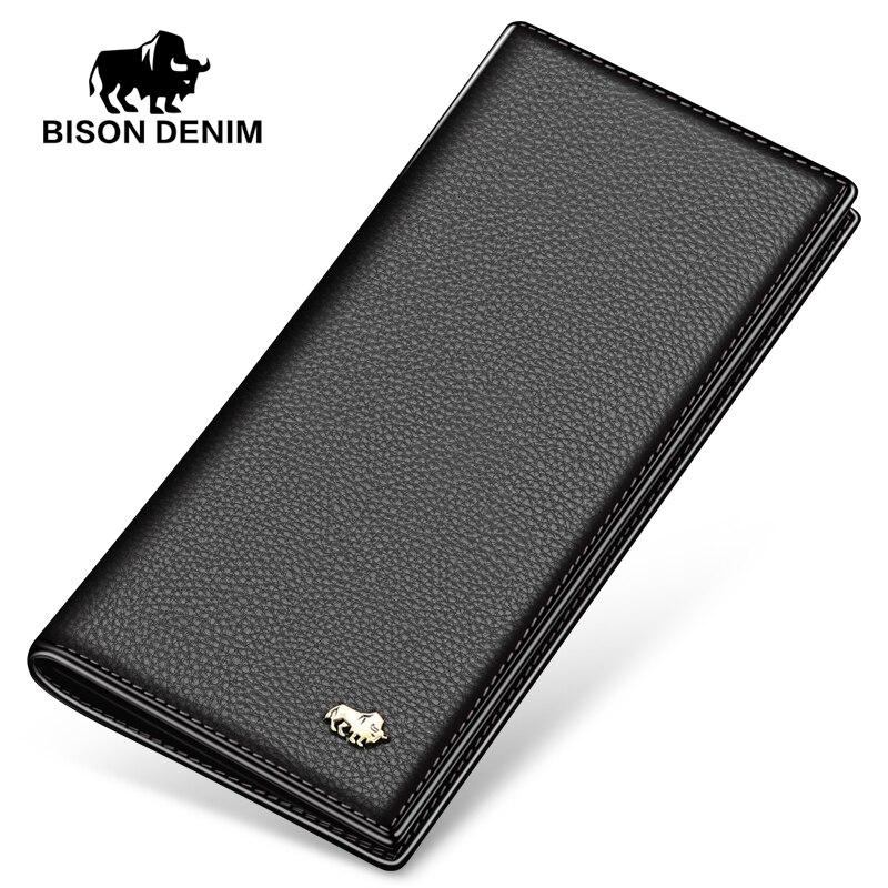 BISON DENIM luxury genuine leather men wallets long slim bifold credit card holder purse wallet<br>