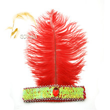 GOYIBA 1 PCS Red 1920s Ostrich Feather Sequined Headband Flapper Headpiece Headwear Carnival Ball Party Show Fancy Dress Costume