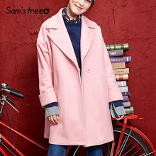 242170acd1b Samstree Winter Wool Coat Solid Color Turn-down Collar A Line Double-Breasted  Women Long Coat Outwear Warm Korean Style Female