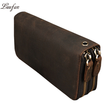 Men Double zipper crazy horse leather long wallet 24 card holder Big Zip around genuine leather clutch purse phone coin pocket