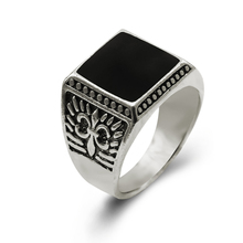 Special Offer!Free Shipping New Fashion Gold /Silver Men Ring Fashion Ring Black Semi-precious Stone Ring Size:8-11