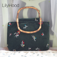 LilyHood 2017 Velvet Floral Embroidery Big Tote Bags Vintage Retro Chic Old China Rustic Green Black Book Bamboo Top-Handle Tote(China)