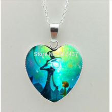 2017 New Gustav Klimt Painting Heart Necklace Mother and Child Heart Pendant Jewelry Silver Heart Necklace