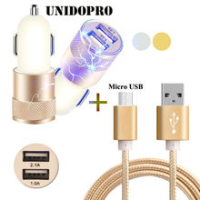 Micro USB 2.0 Charging Data Cable & Dual USB Car Charger Power Adapter for Celkon Diamond 4G Tab 8 / Millennia Everest, Q519