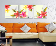Big 3pcs abstract wall Art picture for living room bedroom home wall decor pink daffodil flower print oil Painting on Canvas art(China)