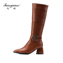 Fanyuan 2017 Winter Knee High Boots PU leather Thin High Heel Pointed Toe Women Shoes Boots Black Motorcycle Boots size 32-43