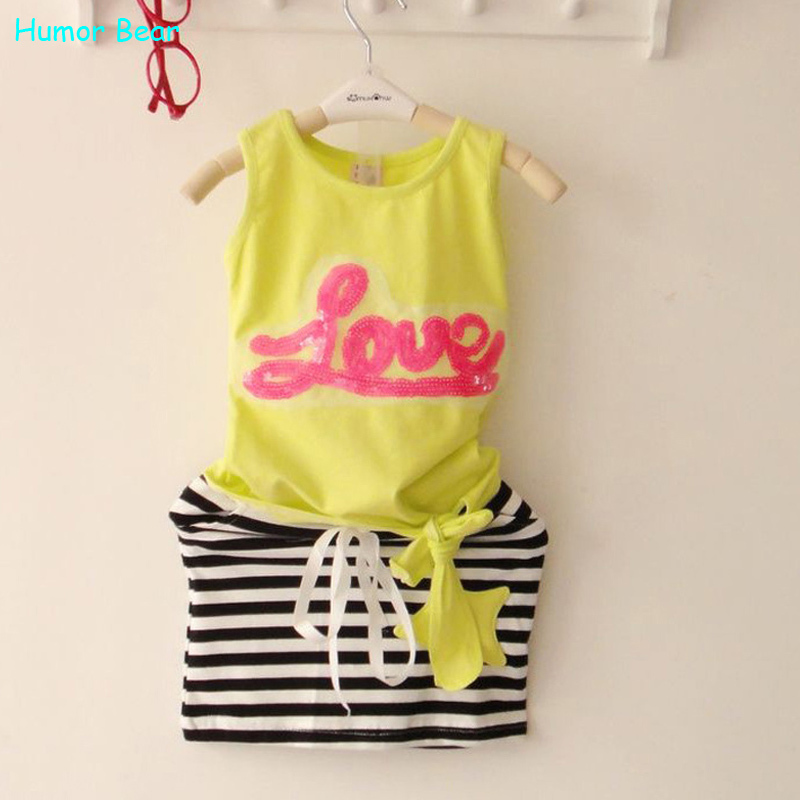 Humor Bear Girls Clothing Sets Children set love print female child sleeveless T-shirt dress girls clothes Sets<br><br>Aliexpress