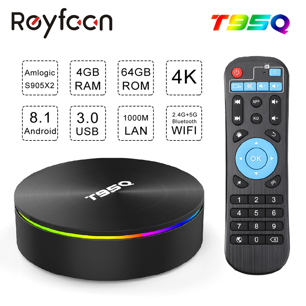 Android 8.1 TV BOX T95Q Amlogic S905X2 Quad Core X2 2.4G&5GHz Dual Wifi BT4.1 1000M H.265 4K 60pfs Media Player Smart TV Box