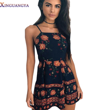 New Summer Dress 2017 Spaghetti Strap Sexy Mini Dress Women Boho Dresses Print Floral Casual Sleeveless Cut Out Back clothing