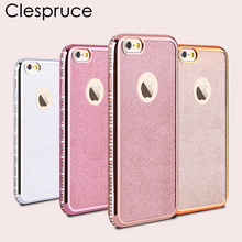 Clespruce Luxury Bling Diamond Frame Glitter TPU Case For Iphone 8 8plus 7 6 6s plus Soft Silicone Cover Plating Edge Rose Capa(China)