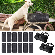 Hoopet 2PCS Bones Shape Pets Poop Waste Garbage Bags Dispenser Pet Dog Cat Rubbish Carrier Box with 42 PCS Refill Rolls Black