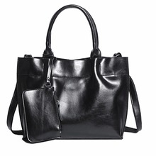 Women Cross Body Tote Briefcase Handbag Genuine Leather High Quality Oil Wax Cowhide Female Shoulder Messenger Top Handle Bags(China)