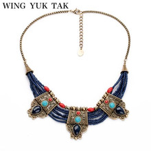 Wing Yuk Tak New Fashion Luxury Brand Bohemia Blue Beads Vintage Water Drops Necklace For Women Free Shipping(China)