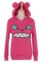 2016 New Women's Colored Zipper Smile Mouth Cat 3D Ear Hoodie Cat Front Jumper Long Sleeve Fleece SweartShirt Tops
