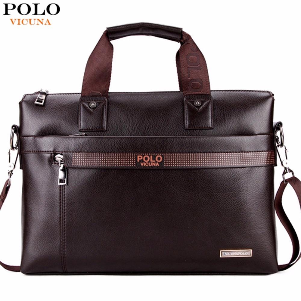 VICUNA POLO Promotion Simple Dot Famous Brand Business Men Briefcase Bag Luxury Leather Laptop Bag Man Shoulder Bag bolsa maleta<br><br>Aliexpress