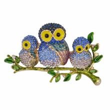 Idealway Luxury Enamel Owl Brooches For Women Multicolor Rhinestones Bird Brooch Animal Pin Party Dress Clothing Accessories