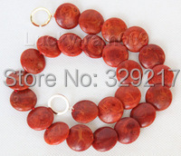 "Genuine 17"" 20mm natural squama coin red sponge coral necklace"