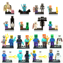 Mini Game Alex Zombie Pigman Skeleton Steve Villager Building Blocks Toys My world figure Minecraft Style Educational toys