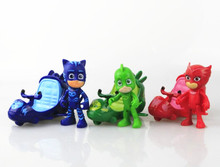 3pcs/lot Pj Cartoon Characters Catboy Owlette Gekko Cloak Toys Car Set Mask Toy Action Figure Model With airship